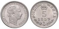5 KREUZER 1859 A FRANTIŠEK JOSEF I. (1848 - 1916)